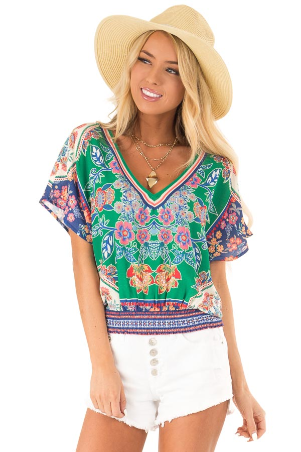 Grass Green Short Sleeve Crop Top with Floral Detail front close up
