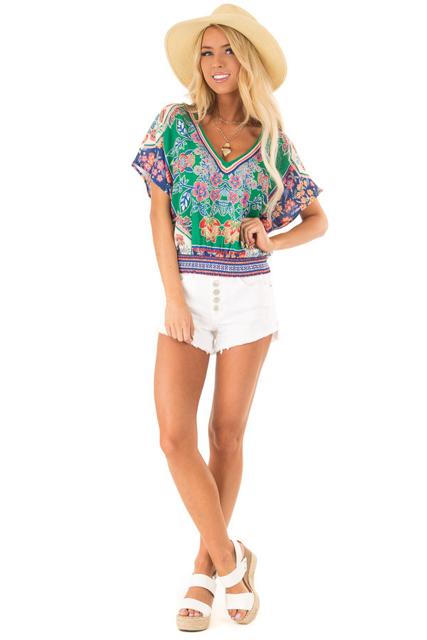Grass Green Short Sleeve Crop Top with Floral Detail front full body