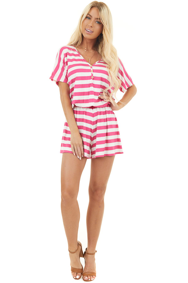 Hot Pink and Ivory Striped Romper with Button Detail