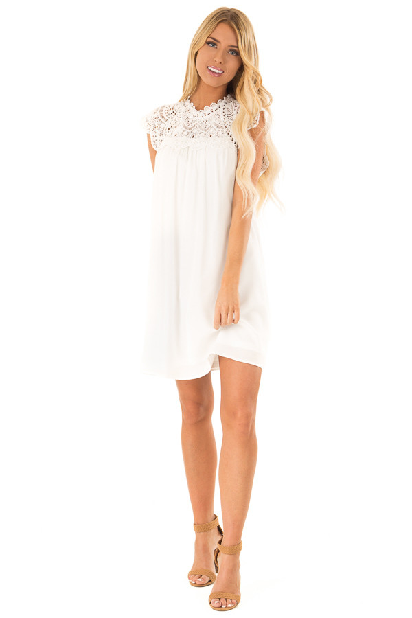 Coconut White Short Sleeve Mini Dress With Crochet Lace Yoke Lime