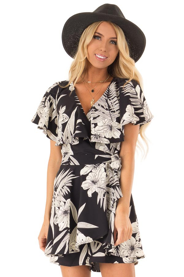 Jet Black Floral Print Wrapped Ruffle Romper with Side Tie front close up