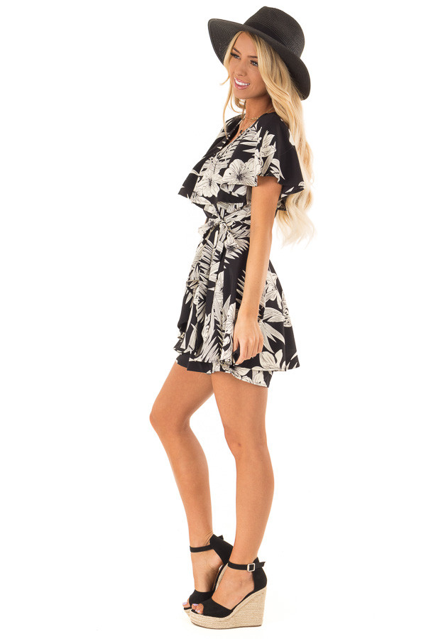 Jet Black Floral Print Wrapped Ruffle Romper with Side Tie side full body