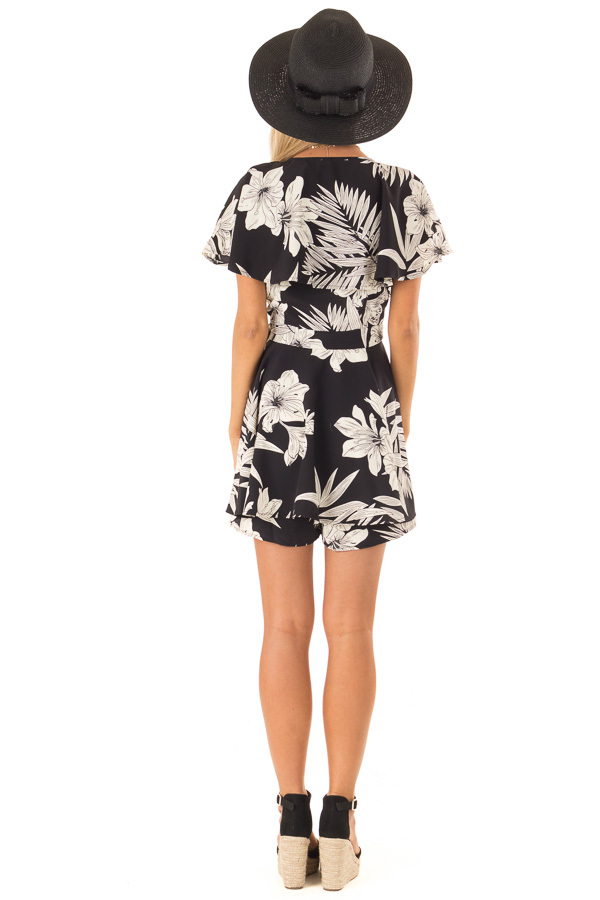 Jet Black Floral Print Wrapped Ruffle Romper with Side Tie back full body