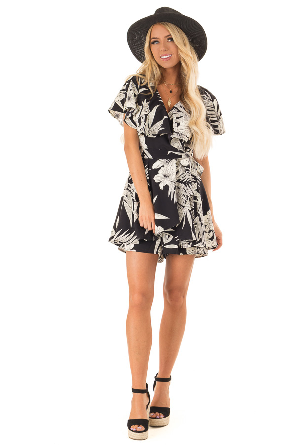 Jet Black Floral Print Wrapped Ruffle Romper with Side Tie front full body