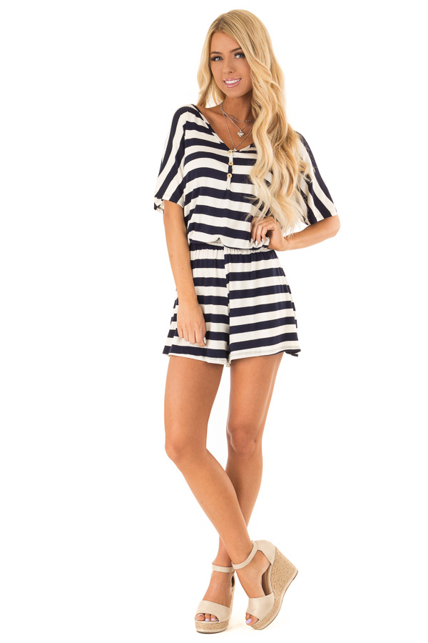 8a538ebec61 Navy and Ivory Striped Romper with Button Detail - Lime Lush Boutique