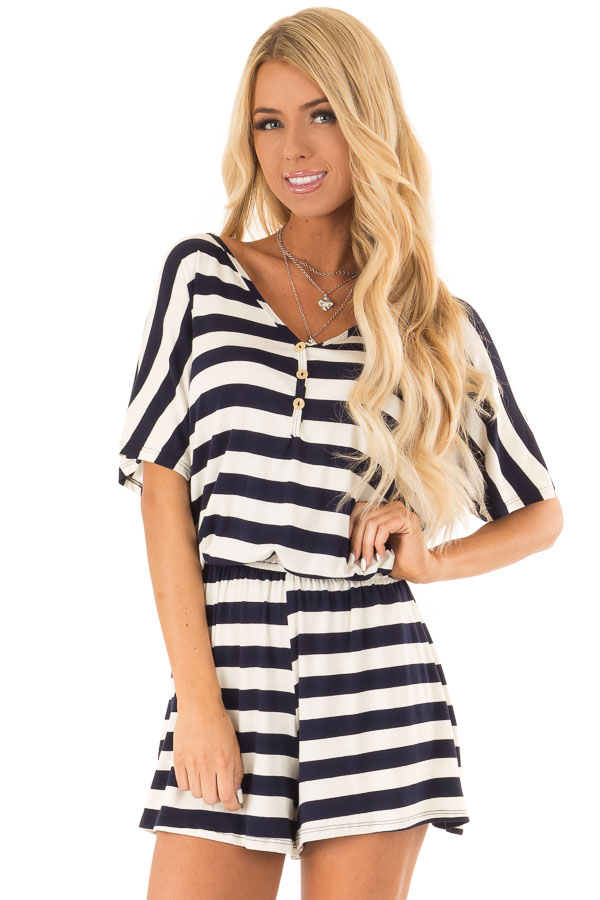 Navy and Ivory Striped Romper with Button Detail front close up