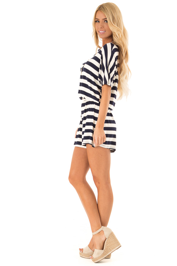 Navy and Ivory Striped Romper with Button Detail side full body