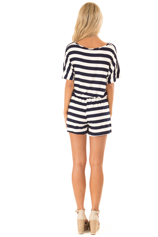 Navy and Ivory Striped Romper with Button Detail back full body