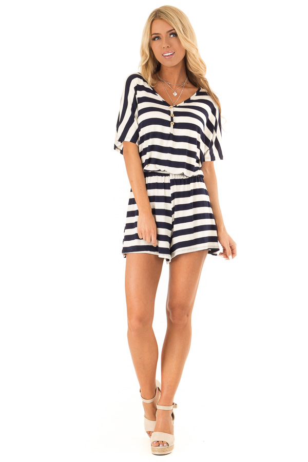 Navy and Ivory Striped Romper with Button Detail front full body
