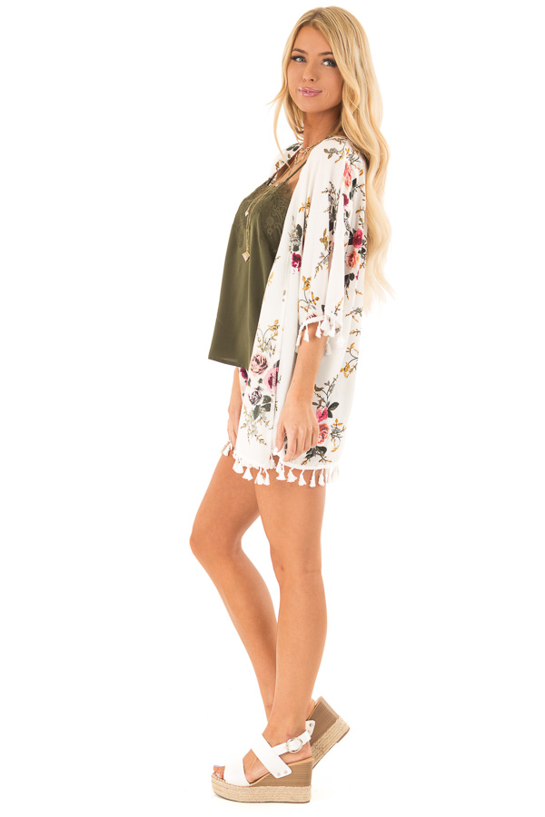 Ivory Floral Open Front Kimono with Tassel Details side full body
