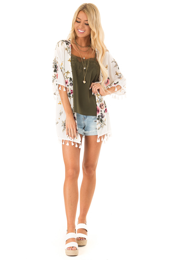 Ivory Floral Open Front Kimono with Tassel Details front full body