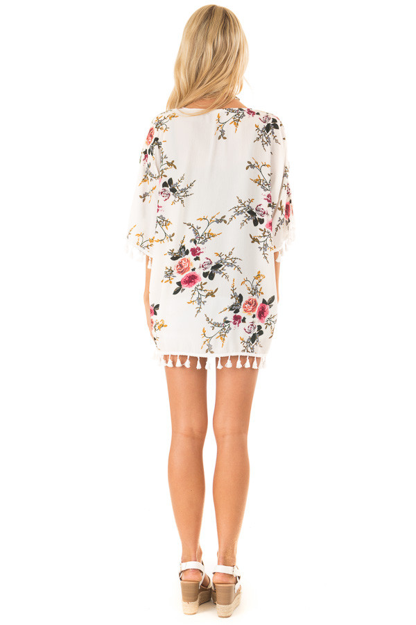 Ivory Floral Open Front Kimono with Tassel Details back full body