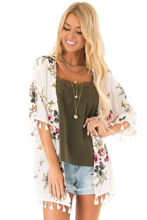 Ivory Floral Open Front Kimono with Tassel Details front close up