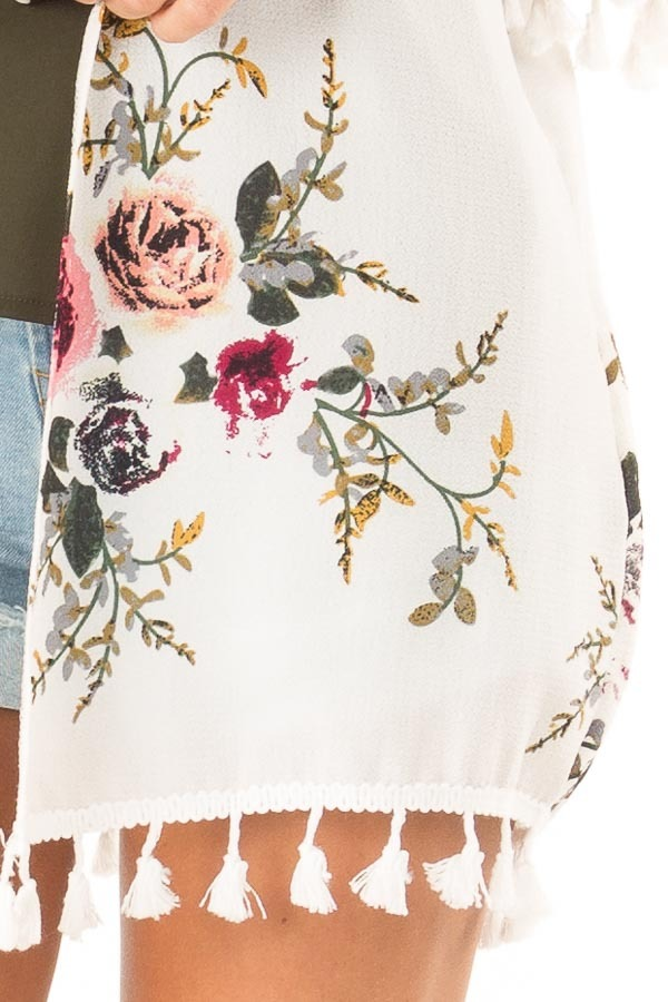 Ivory Floral Open Front Kimono with Tassel Details detail