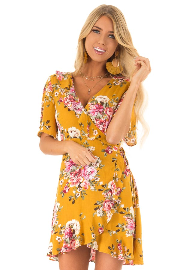Mustard Floral Ruffled Wrap Mini Dress with Short Sleeves front close up