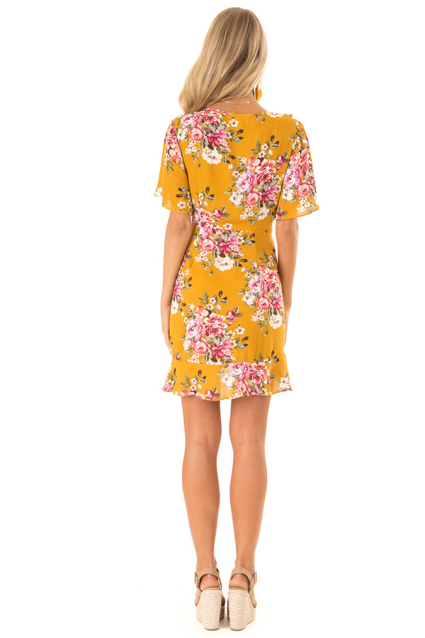 Mustard Floral Ruffled Wrap Mini Dress with Short Sleeves back full body