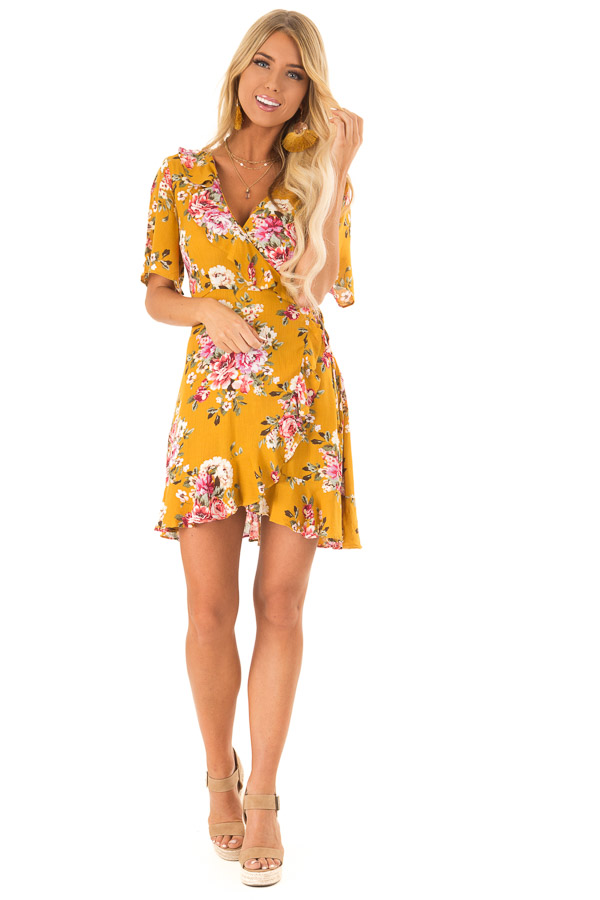Mustard Floral Ruffled Wrap Mini Dress with Short Sleeves front full body