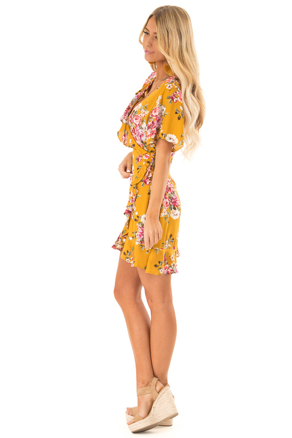 e3f623179fa Mustard Floral Ruffled Wrap Mini Dress with Short Sleeves side full body