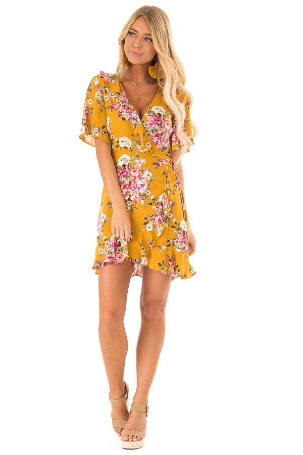 c01d41155cc Mustard Floral Ruffled Wrap Mini Dress with Short Sleeves front full body