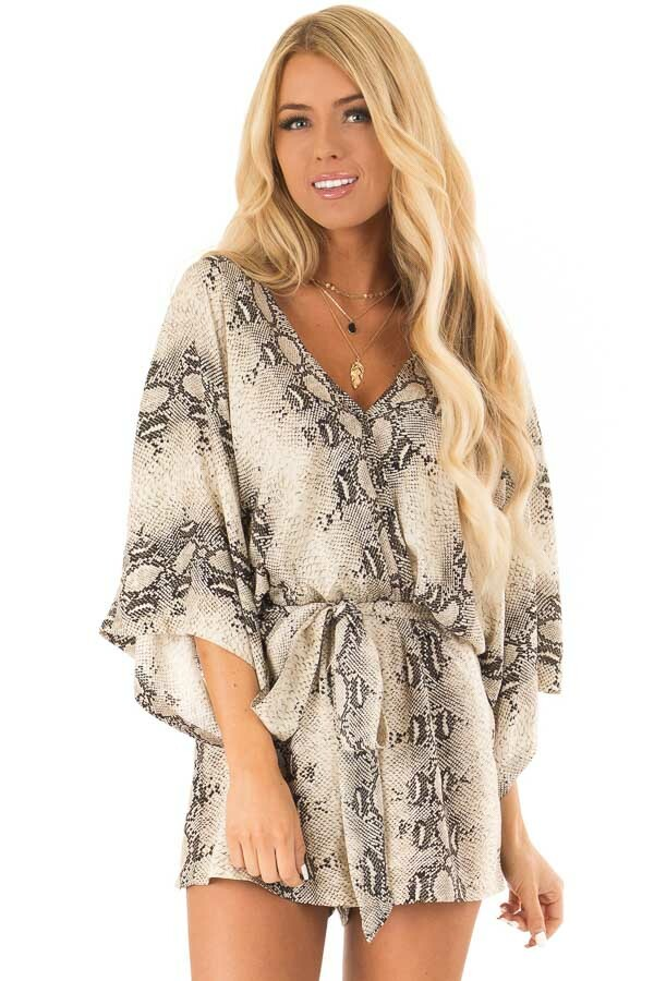 Khaki Snakeskin Print Surplice Romper with 3/4 Sleeves front close up
