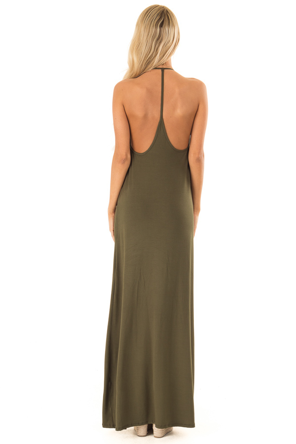 Hunter Green Maxi Dress with Back T Strap Detail back full body