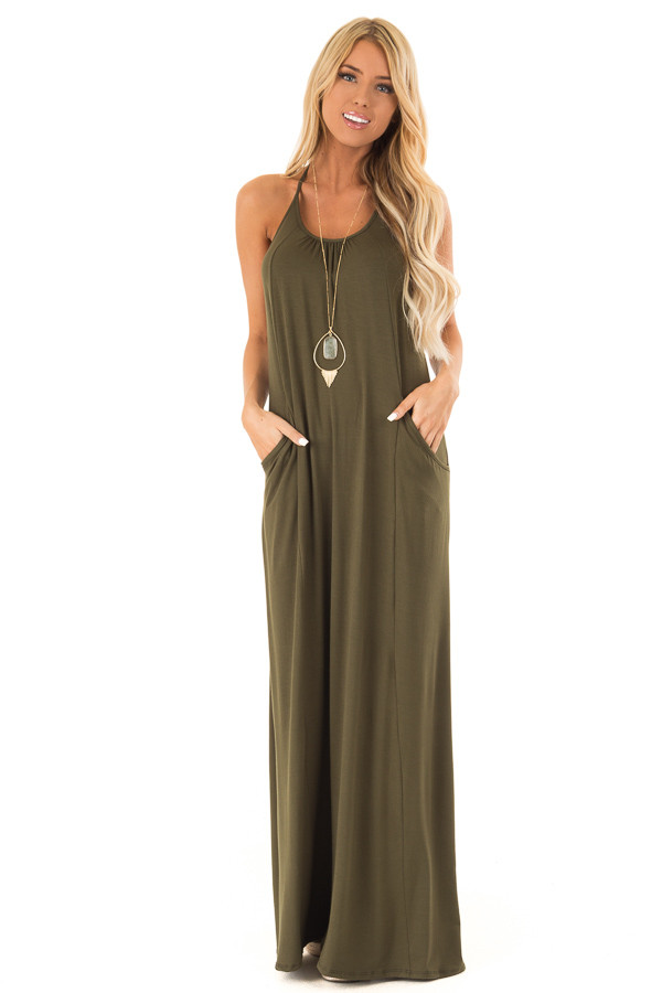 Hunter Green Maxi Dress with Back T Strap Detail front full body