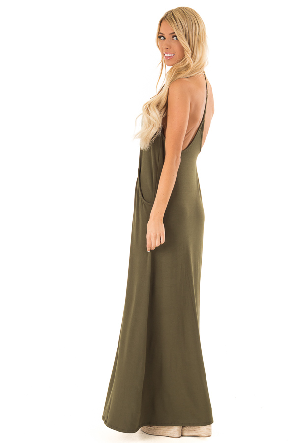 Hunter Green Maxi Dress with Back T Strap Detail side full body