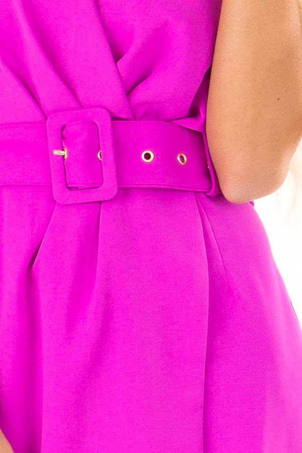 Fuchsia Surplice Sleeveless Belted Romper with Skirt Overlay detail