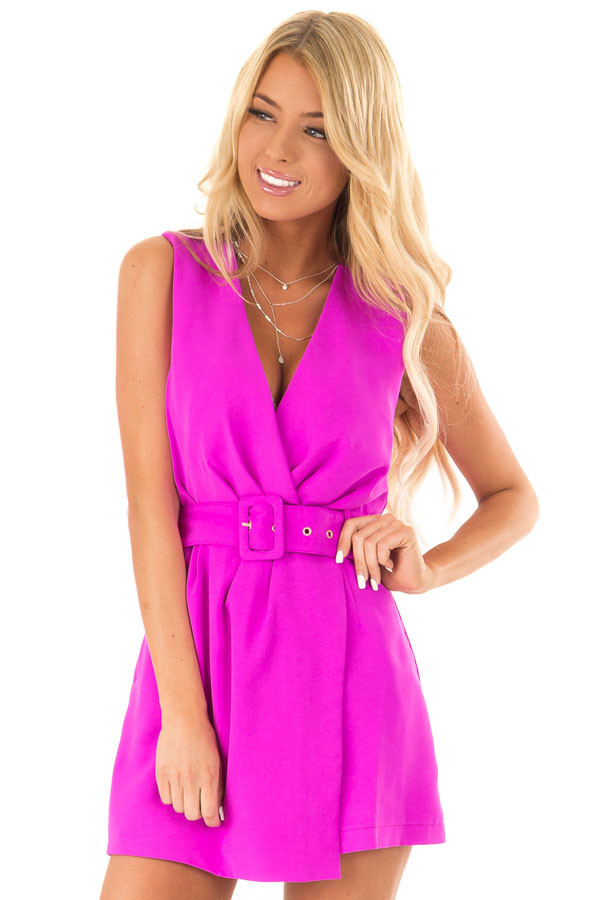 Fuchsia Surplice Sleeveless Belted Romper with Skirt Overlay front close up