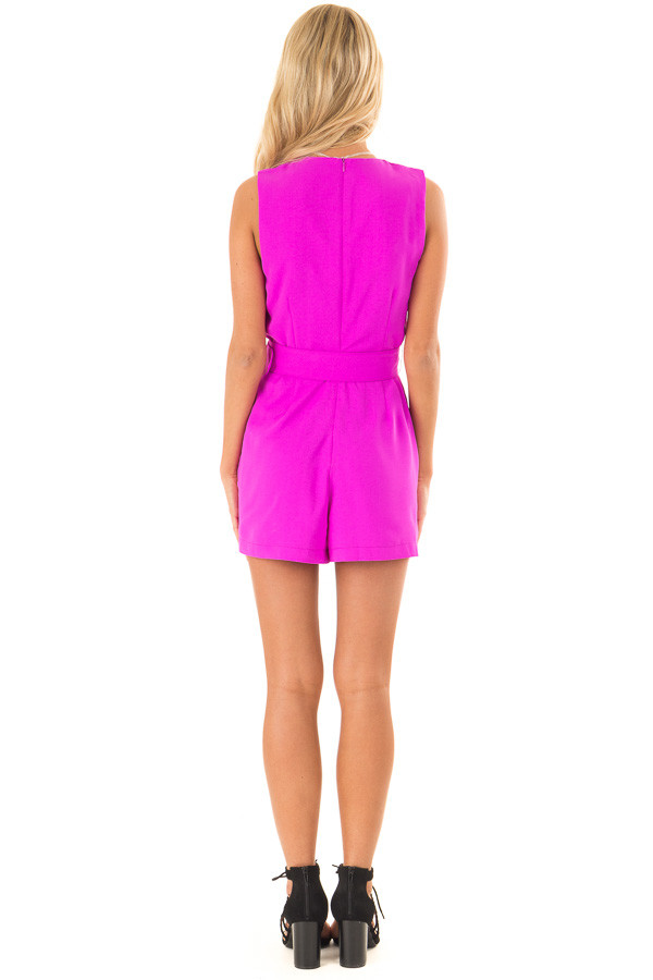 Fuchsia Surplice Sleeveless Belted Romper with Skirt Overlay back full body