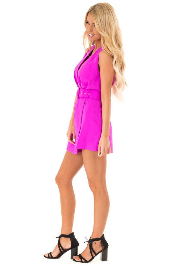Fuchsia Surplice Sleeveless Belted Romper with Skirt Overlay side full body
