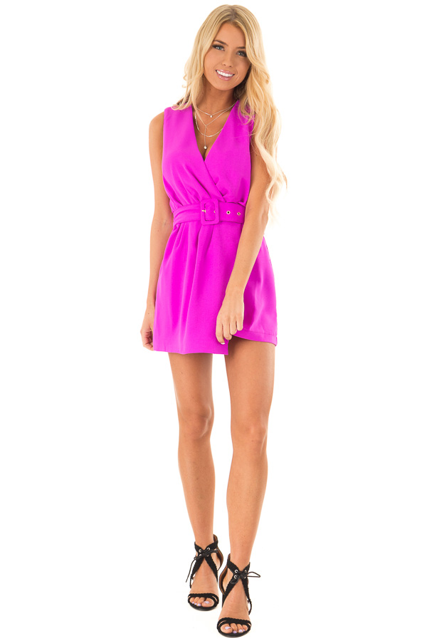 Fuchsia Surplice Sleeveless Belted Romper with Skirt Overlay front full body