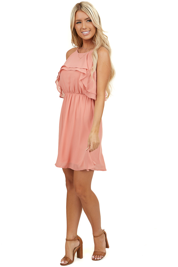 Salmon Dress with High Neckline and Ruffle Overlay