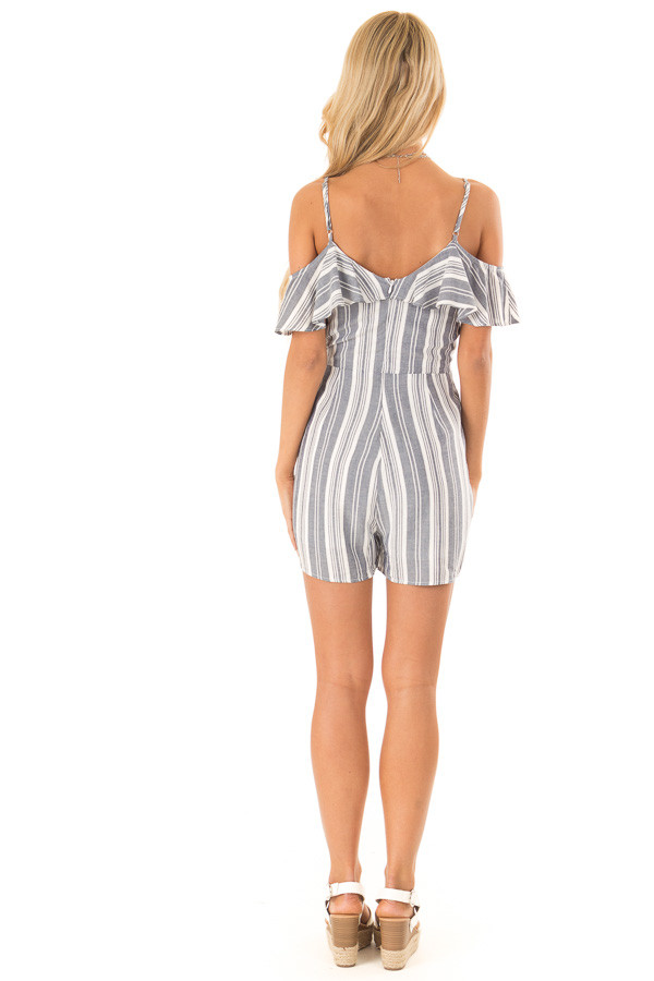 Dark Denim Striped Ruffled Cold Shoulder Surplice Romper back full body