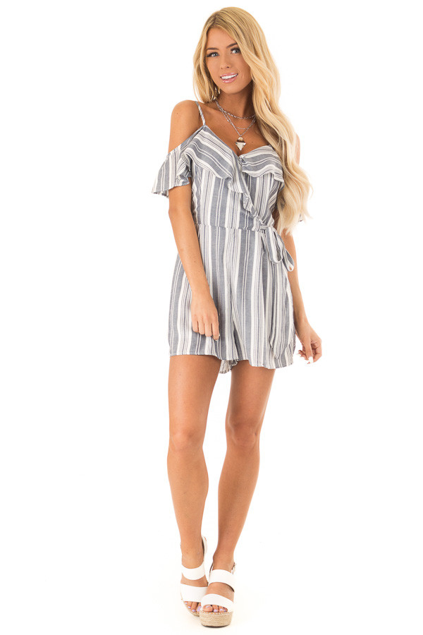 Dark Denim Striped Ruffled Cold Shoulder Surplice Romper front full body