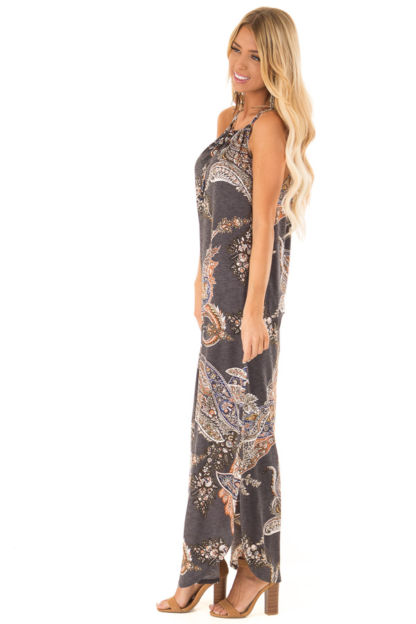 Charcoal Paisley Print Halter Maxi Dress with Side Slits side full body
