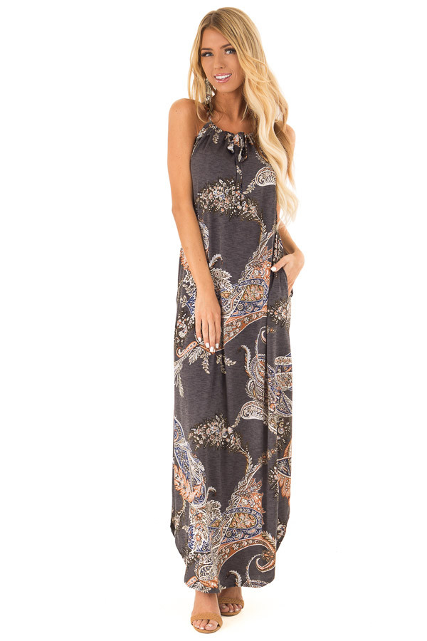 Charcoal Paisley Print Halter Maxi Dress with Side Slits front full body