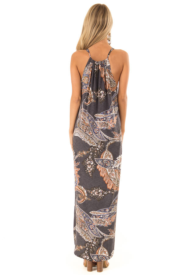 Charcoal Paisley Print Halter Maxi Dress with Side Slits back full body