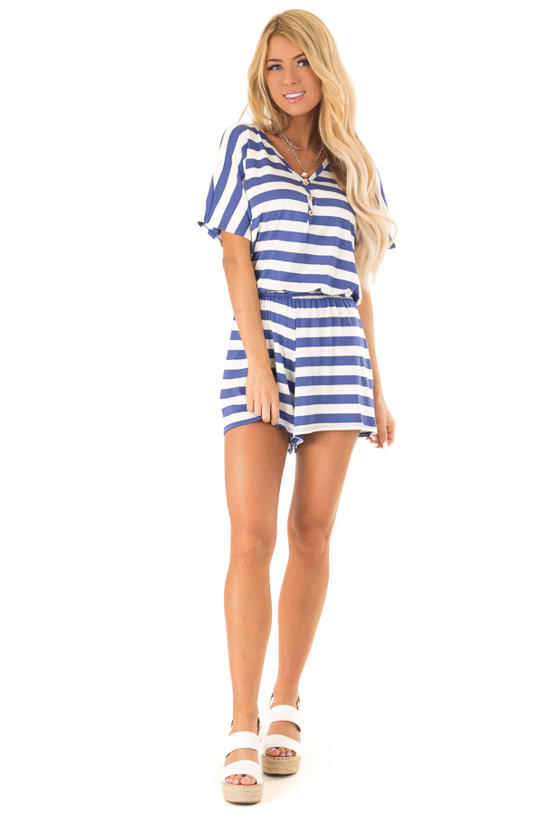 Blueberry and White Striped Romper with Button Detail front full body