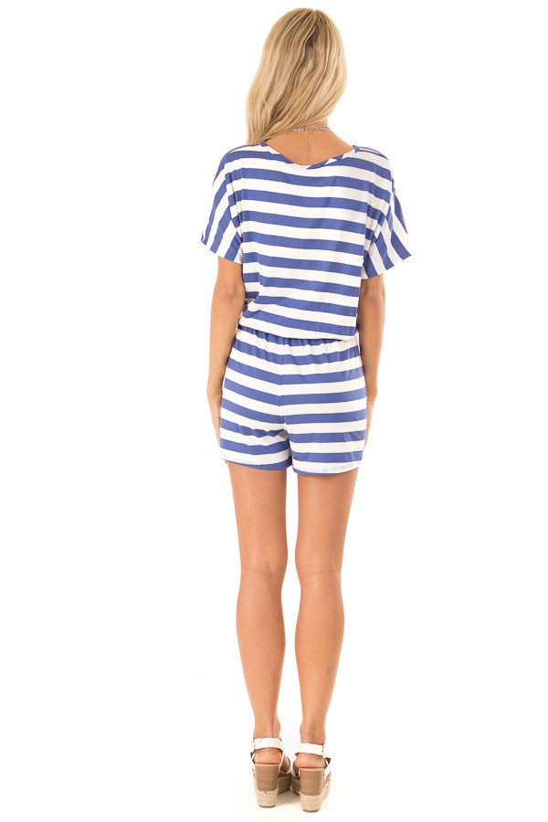 Blueberry and White Striped Romper with Button Detail back full body