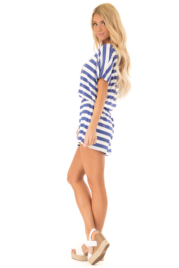 Blueberry and White Striped Romper with Button Detail side full body