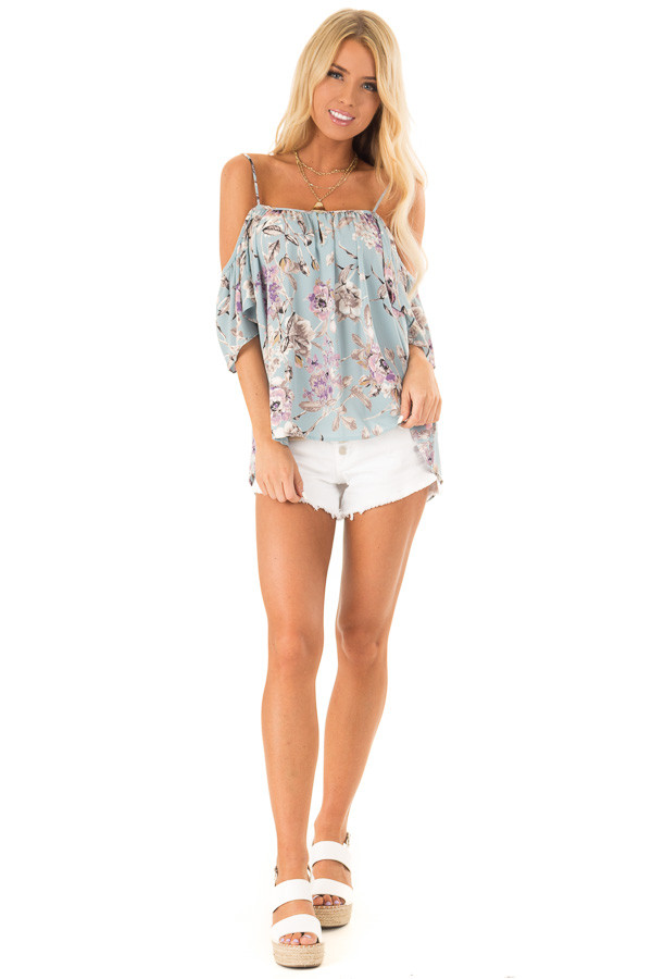 Sky Blue Floral Cold Shoulder Flowy Top with Keyhole Detail front full body