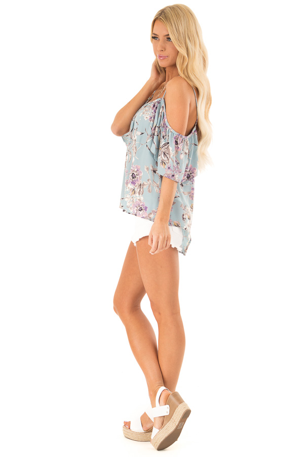 Sky Blue Floral Cold Shoulder Flowy Top with Keyhole Detail side full body