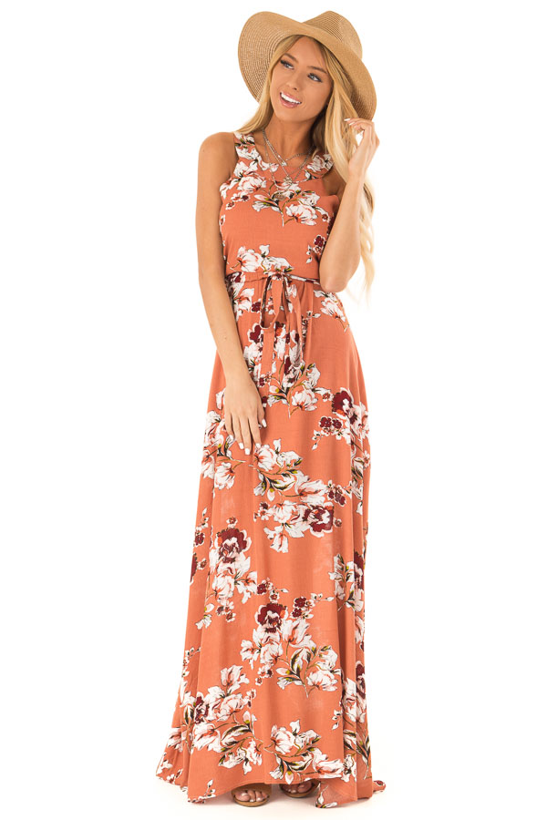 Burnt Orange Floral Print Halter Top Maxi Dress with Tie front close up