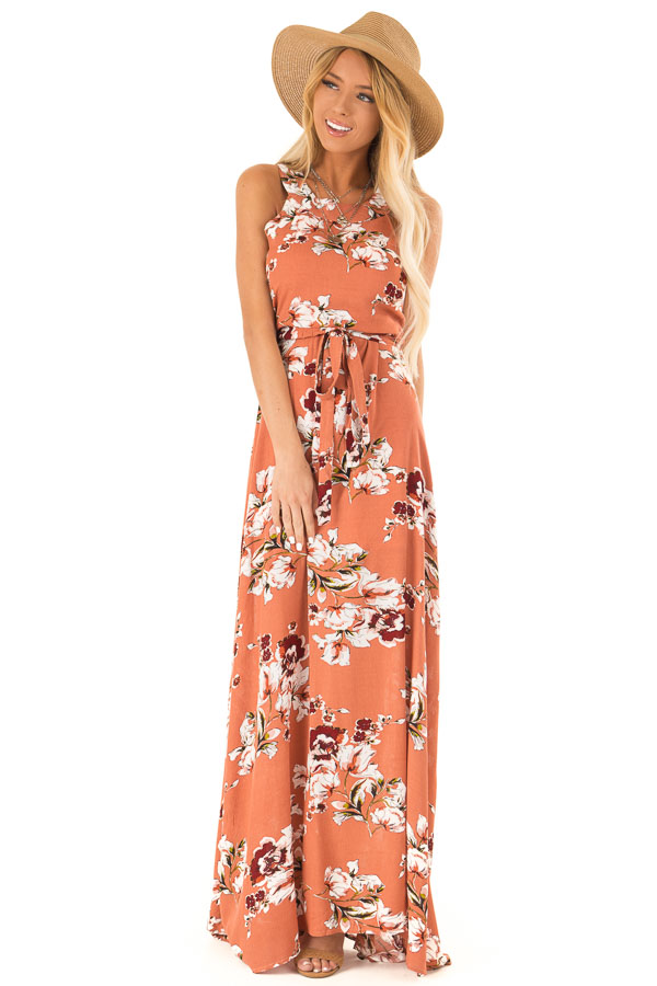 Burnt Orange Floral Print Halter Top Maxi Dress with Tie front full body