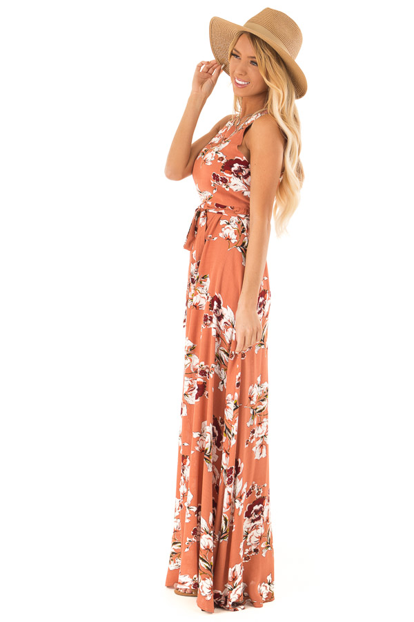 Burnt Orange Floral Print Halter Top Maxi Dress with Tie side full body