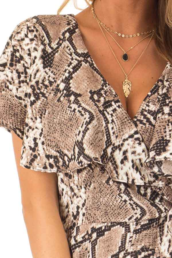 Mocha Snakeskin Print Ruffled Wrap Romper with Back Cutout detail