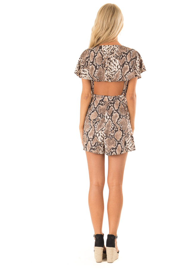 Mocha Snakeskin Print Ruffled Wrap Romper with Back Cutout back full body