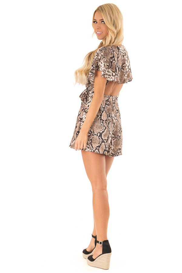 Mocha Snakeskin Print Ruffled Wrap Romper with Back Cutout side full body