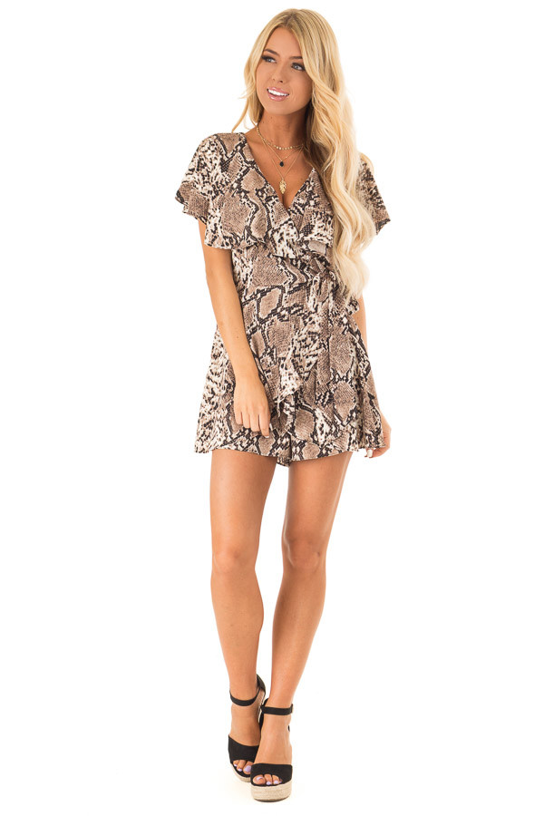 Mocha Snakeskin Print Ruffled Wrap Romper with Back Cutout front full body
